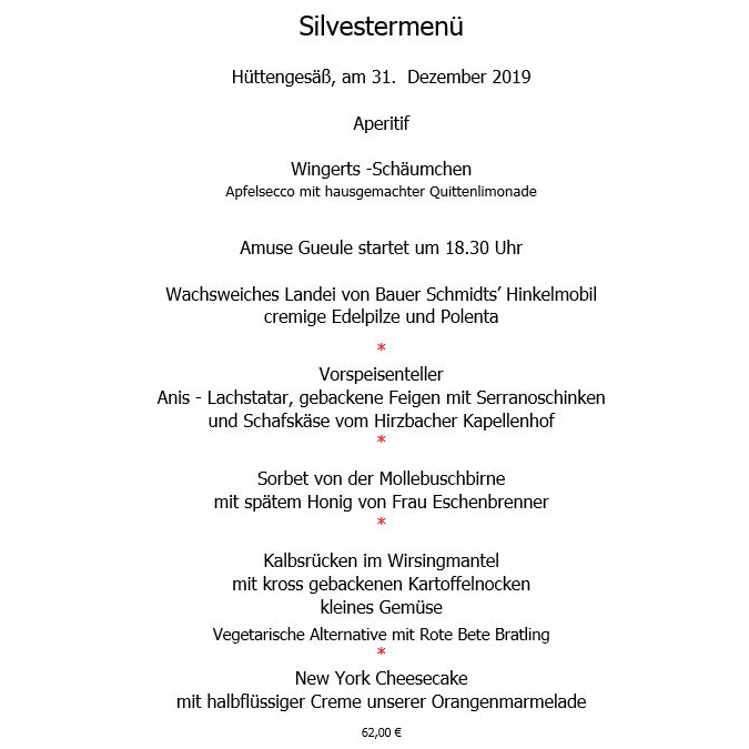 Silvestermenü 2019 Krone Ronneburg